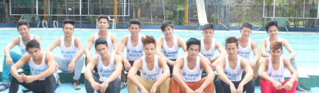 Mr. Batasan candidates 2015 pose by the Filinvest 2 swimming pool.