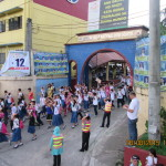 Barangay employees ensure safety of the BHNHS students during an earthquake drill. (5)