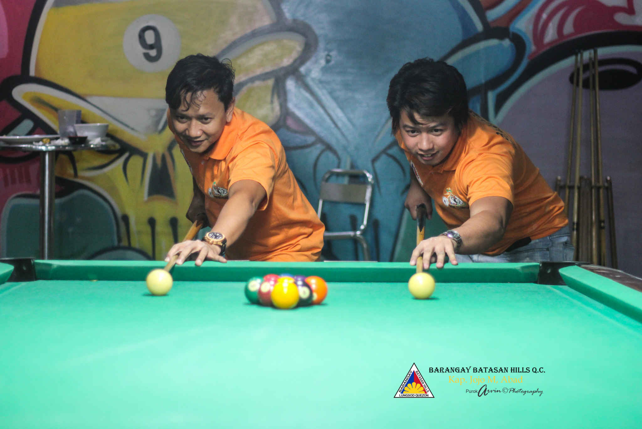 Capt. Abad and Kgd. Santos represent Batasan Hills in Haligi ng mga Barangay Mini-Olympics 2015 - Husay sa Billiards. (2)