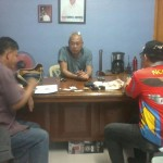 A suspected drug trafficker is presented to Peace and Order Committee chairmen. (2)