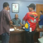 A suspected drug trafficker is presented to Peace and Order Committee chairmen. (5)
